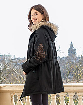 Together Embroidered Parka Coat