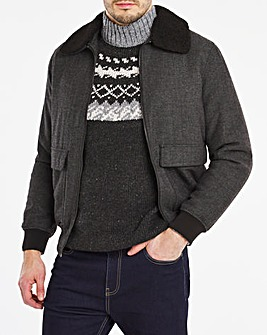 Charcoal Wool Blend Borg Collar Jacket