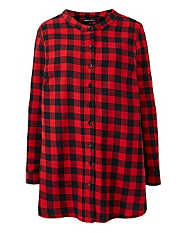 Red Check Grandad Collar Shirt