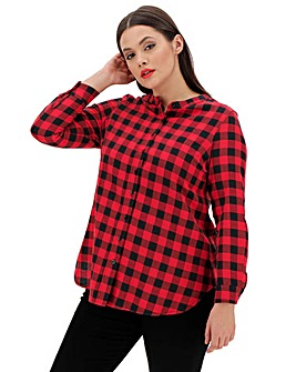 Red Check Grandad Collar Shirt