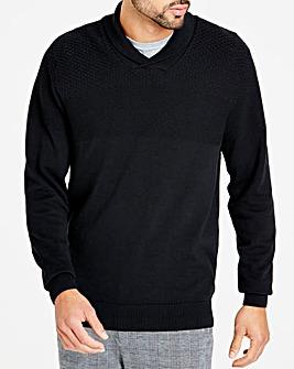 Black Shawl Texture Knit Regular