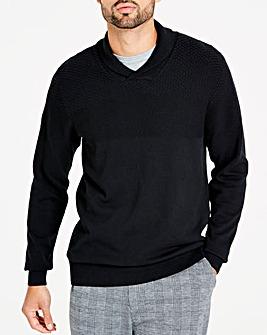 Black Shawl Texture Knit Long
