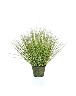 Artificial Zebra Grass in Metal Pot