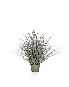 Artificial Dogtail Grass in Metal Pot