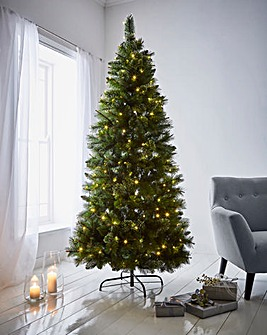 Pre Lit Ridgemere Slim Pine Bristle Tree