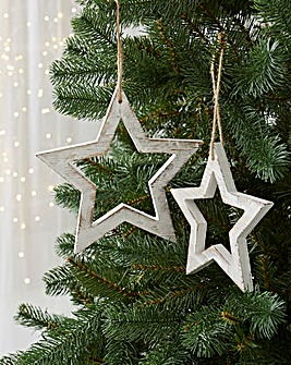 Set of 2 Wooden Star Decorations