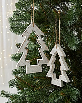 Set of 2 Wooden Tree Decorations