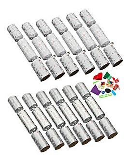 12 Luxury Silver Joy Crackers