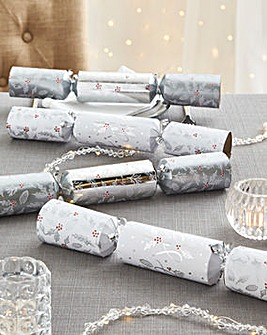 12 Luxury Silver Joy Crackers