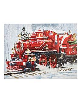Santas Train LED Canvas