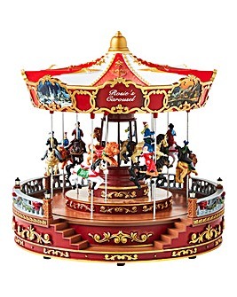 Rotating LED Carousel with Animated Horses