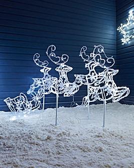 Spun Acrylic Sleigh & 4 Flying Reindeers