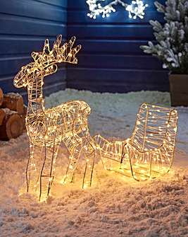 Wire Reindeer & Sleigh Static