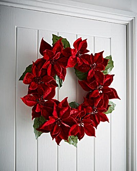 Red Poinsettia Wreath