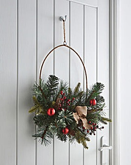 Gold Metal Wreath with Foliage & Baubles