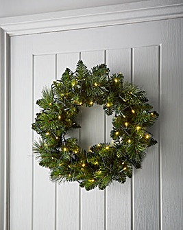 Pre-Lit Ridgemere Wreath 50cm