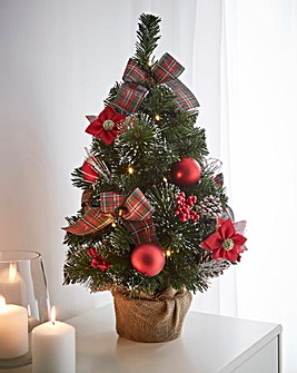 LED Poinsettia Tartan Tree