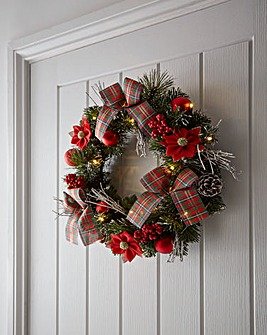 Pre-Lit LED Tartan Poinsettia Wreath