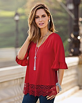 Together Lace Trim and Frill Sleeve Top