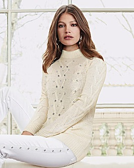 Together Ivory Cable Beaded Jumper