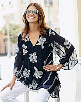 Together Floaty Contrast Print Blouse
