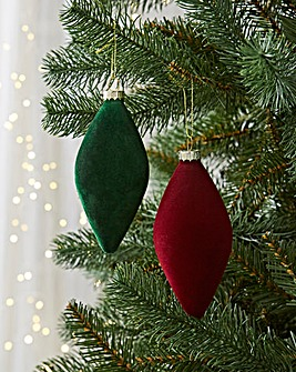12 Green and Red Olive Flocked Baubles