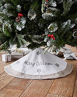Grey Merry Christmas Tree Skirt