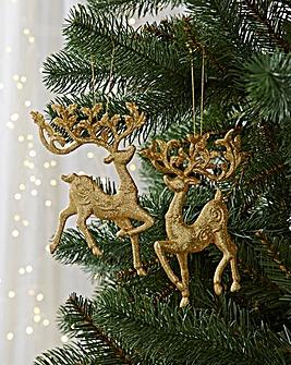 4 Glitter Reindeers