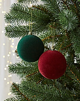 12 Pack Green/Burgundy Flocked Baubles