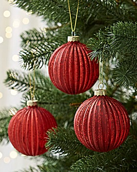6 Red Ridged Glass Baubles
