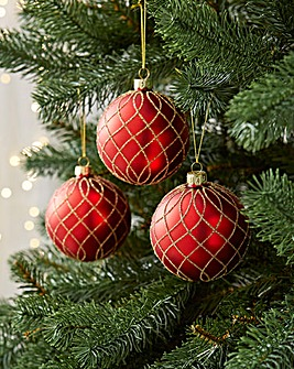 12 Red with Gold Swirls Baubles