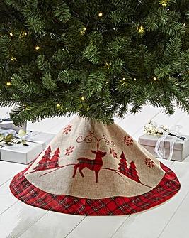 Red Tartan Christmas Scene Tree Skirt