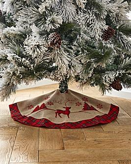 Red Tartan Christmas Scene Tree Skirt