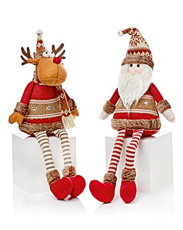 Set of 2 Sitting Santa & Reindeer Gonks