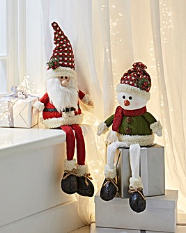 Set of 2 Sitting Santa & Snowman Gonks