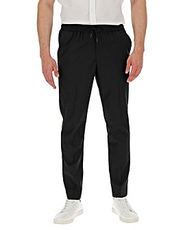 Black Drawstring Tapered Trousers