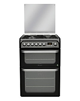 Hotpoint Ultima HUD61KS Dual Fuel Double 60cm Cooker Black + Installation