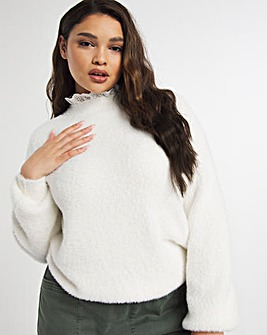 Fluffy Jumper With Broderie Frill Neck