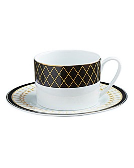 Portmeirion Modern Metallic Teacup & Saucer Set of 2