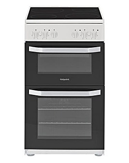 Hotpoint Cloe HD5V92KCW Electric Twin Cavity 50cm Cooker White