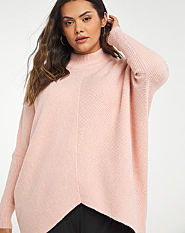 Cosy High Neck Chevron Ribbed Detail Jumper