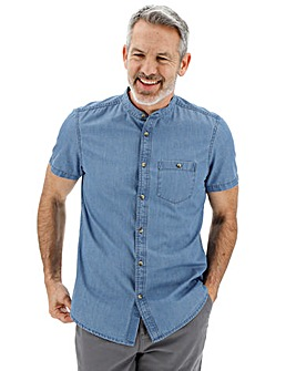 Short Sleeve Chambray Grandad Shirt