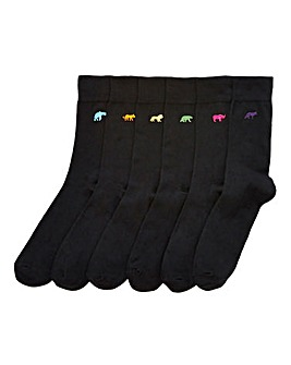 Capsule Black Pack of 6 Animal Socks