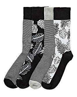 Capsule Pack of 4 Tropical Floral Socks