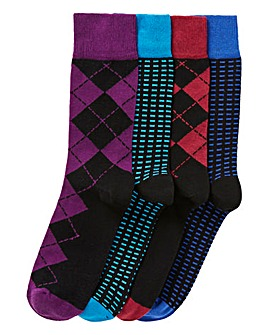 Capsule Black Pack of 4 Formal Socks