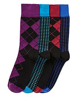Capsule Black Pack of 4 Formal Socks