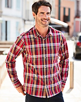 W&B Red Long Sleeve Check Shirt Regular