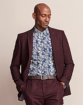 W&B LONDON Burgundy Donegal Suit Jacket