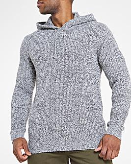 Grey Twisted Knit Hoodie