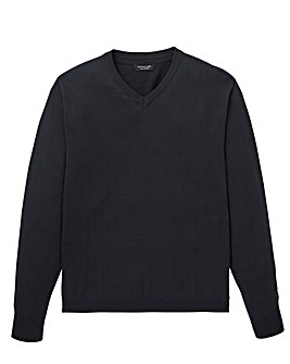 Black V-Neck Cotton Jumper